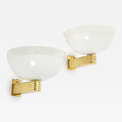 Paolo Venini Pair of Vintage Venini Murano Reticello Glass Sconces