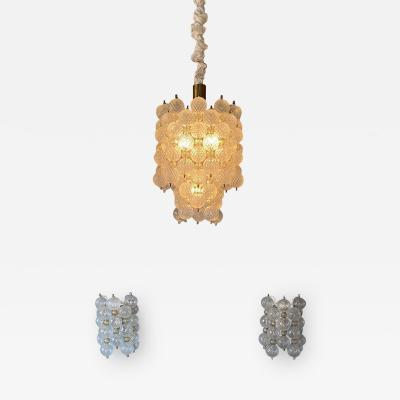 Paolo Venini Rare collectable set of a chandelier and 2 wall sconces Balloton by Venini