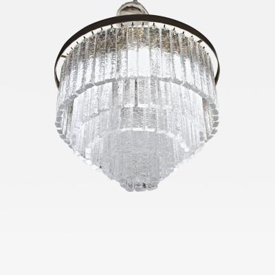 Paolo Venini Round 5 1 Tiers Chandelier Murano Clear Glass 1990s Bronze Finish Metal Ring