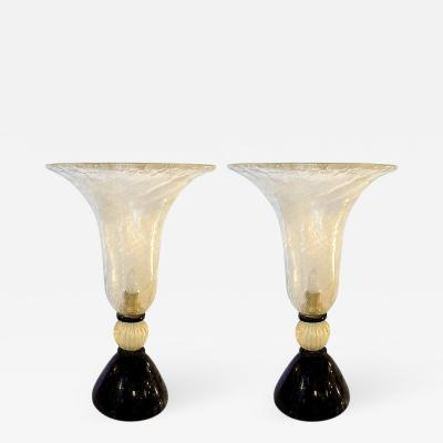 Paolo Venini Venini Mid Century Modern Murano Glass Urn Pair of Lamps