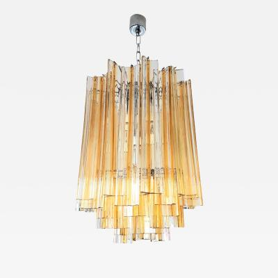 Paolo Venini Venini Mid Century Triedri Glass Chandelier Transparent with Amber Color Lines