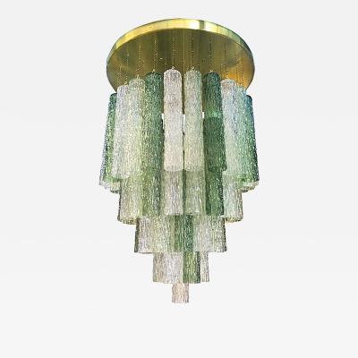 Paolo Venini Venini Textured Green Murano Glass Mid Century Modern Flush Mount Chandelier