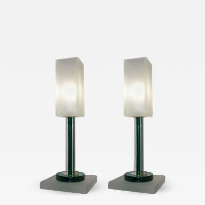 Paolo Venini Venini Vintage Green Pair of Table Lamps with White Frosted Murano Glass Shades