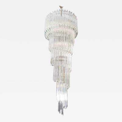 Paolo Venini Vintage 1970s Quadriedri Venini Glass Spiral Chandelier