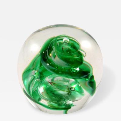 Paperweight Hand Blown Green Glass Swirl Dated 8 1892