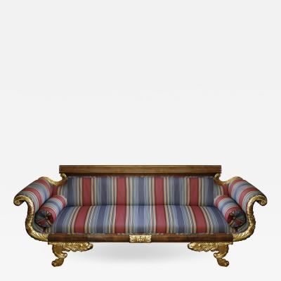 Parcel Gilt Mahogany Regency Style Sofa in Striped Fabric