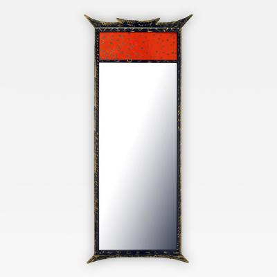 Parcel Gilt Pagoda Style Enameled Panel Trumeau Mirror