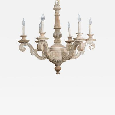 Parcel Silver Gilt and Washed Pine Six Arm Chandelier Mid 20th Century