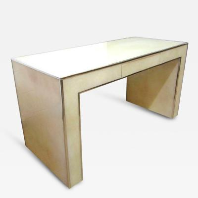 Parchment Colored Acrylic Writing Desk with Chrome Trim