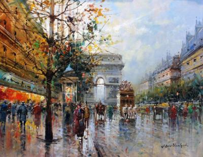 Paris Street Reflections Oil Painting by Antoine Blanchard