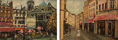 Parisian Street Scenes Oil Painting on Canvas Signed R Roywilsens a Pair