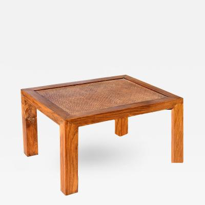 Parsons Table with Rattan Top