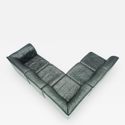 Patchwork Sectional in Black Leather Sofa 5 Elements 1970s