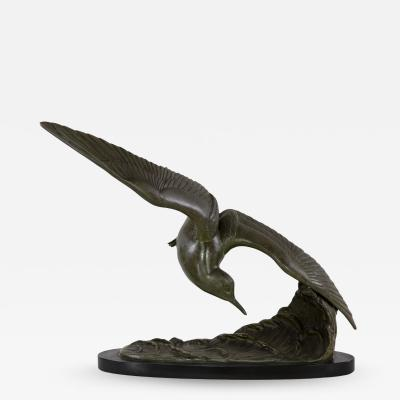 Patinated Art Nouveau Styled Bronze Sculpture Of A Tern In Flight