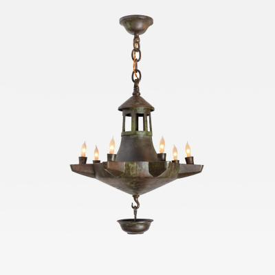 Patinated Bronze Oil Light Style Chandelier Denmark 1930s