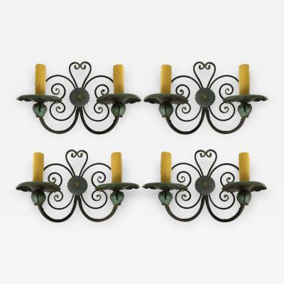 Patinated Wrought Iron Sconces in the Old Spanish Mizner Style Set of 4