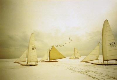 Patrice Casanova Ice Sailing on the Great South Bay Long Island New York