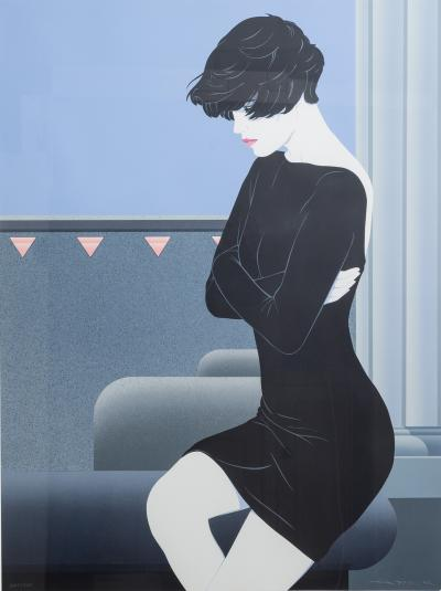 Patrick Nagel A Framed Art Deco Style Limited Edition Print of a Woman 1980s
