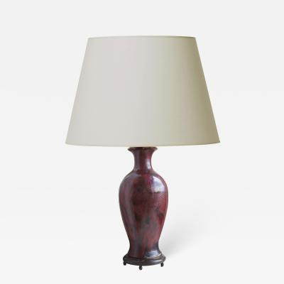 Patrick Nordstrom Exquisite Table Lamp in Oxblood Glaze by Patrick Nordstr m