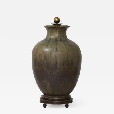 Patrick Nordstrom Superlative Lidded Vase in Painterly Green Glazing by Patrick Nordstrom
