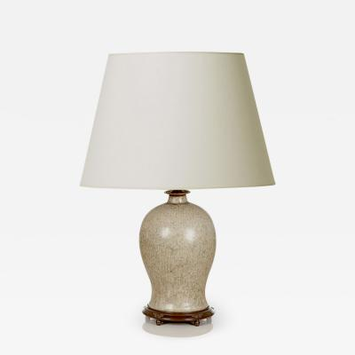 Patrick Nordstrom Table Lamp with Masterful Mottled Gray Glaze by Patrick Nordstr m