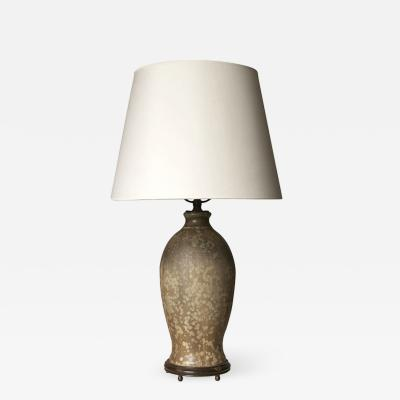 Patrick Nordstrom Table lamp with exquisite mottled glaze and mounts by Patrick Nordstr m