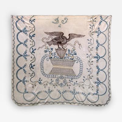 Patriotic Bedcover Embroidered with American Eagle and Shield