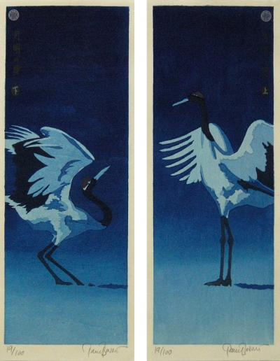 Paul Binnie Paul Binnie Woodblock Dyptych Getsumei no Mai or Moonlight dance 2014