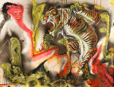 Paul Bough Travis Emotional Composition with Tiger Attack