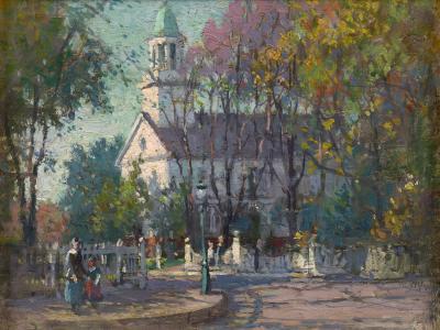 Paul Cornoyer Colonial Church New England