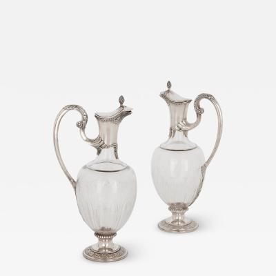 Paul Devaux Two Art Nouveau silver and glass wine jugs by Devaux