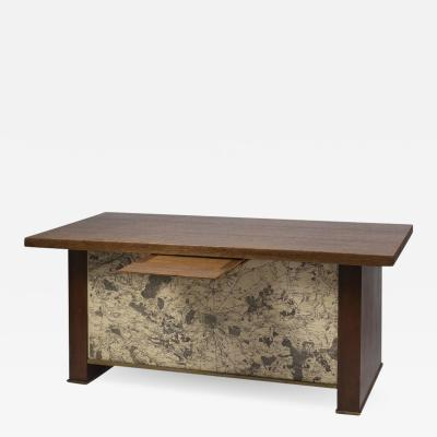 Paul Dupr Lafon 1940s Desk in Oak with Ancient Map of Paris