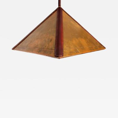Paul Dupr Lafon Art Deco Brass Hanging Lamp after Jacques Lafon