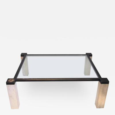 Paul Dupr Lafon Coffee Table in the Style of Paul Dupr Lafon Travertine and Brass