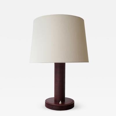 Paul Dupr Lafon Red Stitched Leather Table Lamp