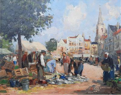 Paul Emile Lecomte Market Day