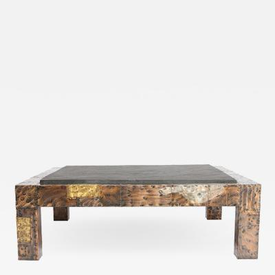 Paul Evans 1970s Paul Evans Slate Top Patchwork Coffee Table