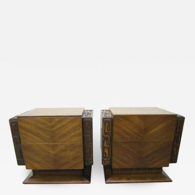 Paul Evans 2 Paul Evans Style Sculptural Brutalist Walnut Night Stands Mid century Modern