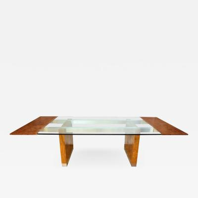 Paul Evans A Paul Evans Chrome Plated Steel and Burl Maple Wood Extendable Dining Table