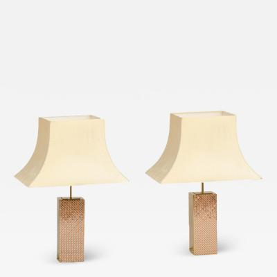 Paul Evans A pair of gilt brass column shaped lamps circa 1980 in the manner of Paul Evans