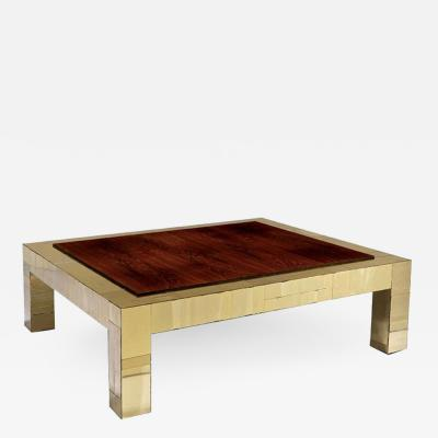 Paul Evans Brass and rosewood cityscape coffee table Paul Evans