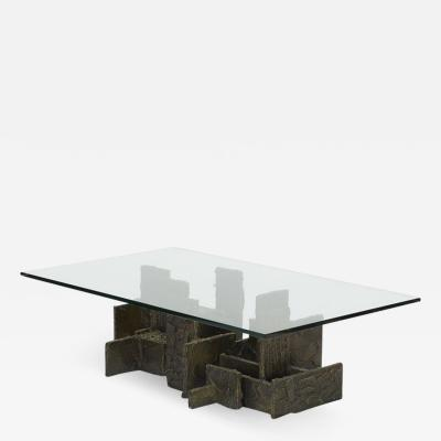 Paul Evans Brutalist style sculped bronze coffee table by Paul Evans