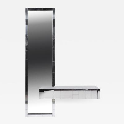 Paul Evans Cityscape Floating Console and Mirror by Paul Evans