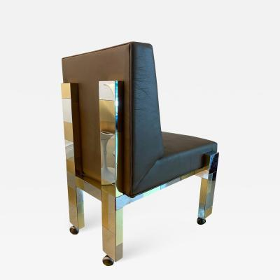 Paul Evans Cityscape Leather Desk Chair with Castors by Paul Evans for Directional