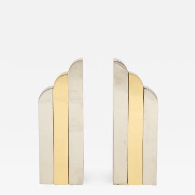 Paul Evans Evans Style Chrome Brass Modern Skyscraper Andirons