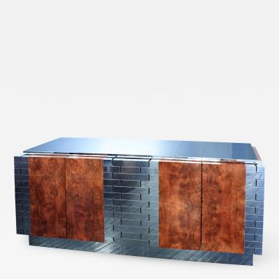 Paul Evans Exceptional Burl Wood Tessellated Chrome Credenza by Paul Evans