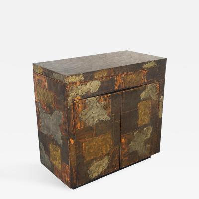 Paul Evans Exceptional Patchwork Flip Top Bar Cabinet by Paul Evans