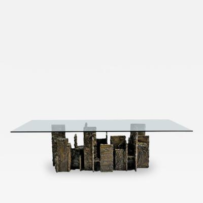 Paul Evans Exceptional Sculpted Bronze Dining Table by Paul Evans