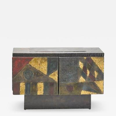 Paul Evans Fine patch welded steel cabinet by Paul Evans