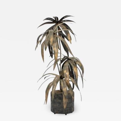 Paul Evans Illuminated Brutalist Palm Tree Sculpture in Paul Evans Style Pot circa 1970